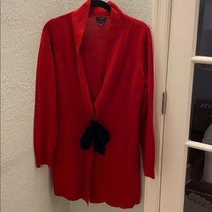 Red Talbots holiday cardigan